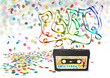 Tonbandkassette, Kassette, Party, 80er, achtziger, Konfetti