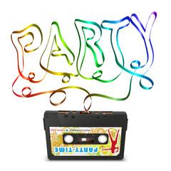 Einladungskarte, Party, Retro, 80er, achtziger, Audiokassette