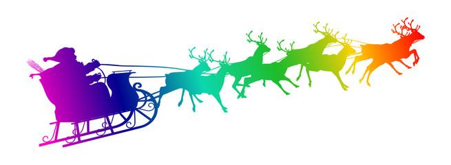 Weihnachtsmann, Rentierschlitten, fliegend, Nikolaus, Rentiere