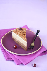 Piece of Chestnut Multi-Layered Mousse Cake