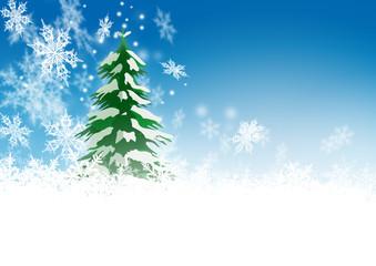 Weihnachtskarte, Hintergrund, Tannenbaum, blauer Himmel, Schnee
