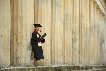 woman scientist in ancient colonnade