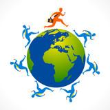 businessmen run for global relation concept vector poster
