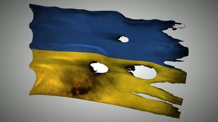 Ukraine perforated, burned, grunge waving flag loop alpha