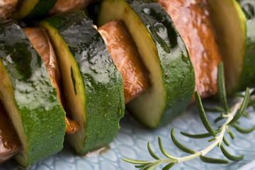 Salmon and courgette shashlik