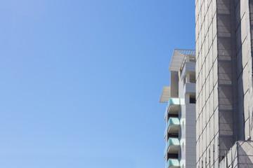 horizontal photo of buildings under construction