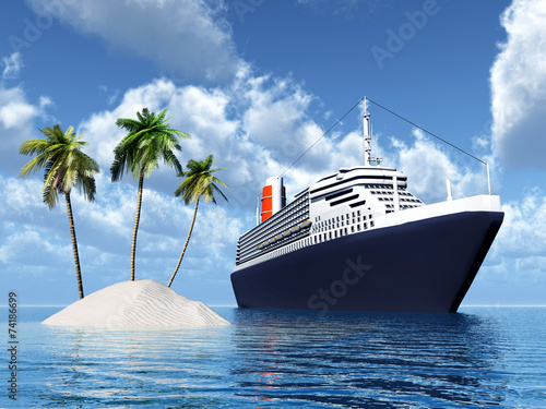 canvas print picture Island and Cruise Ship