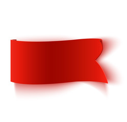 Realistic detailed curved red paper banner.
