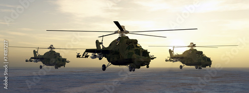 Leinwanddruck Bild Soviet attack helicopters of the cold war