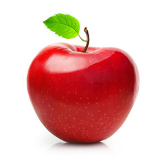 Red apple fruit with leaf