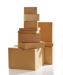 Pile of cardboard boxes isolated