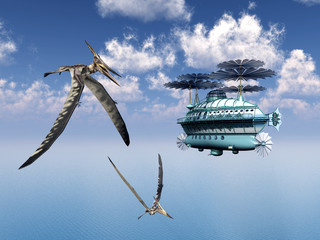 Fantasy Airship and the Pterosaur Pteranodon