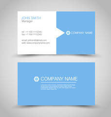 Business card set template. Blue and white color.