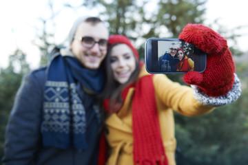 Selfie during choosing Christmas tree