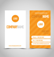 Business card set template. Orange and white color