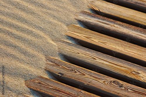 canvas print picture Sand und Holz
