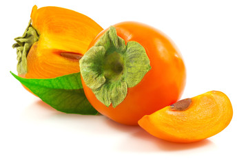 Ripe persimmon with leaf