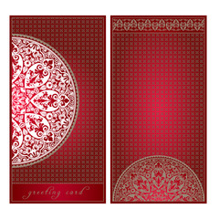 Greeting card in European style, floral ornament, template