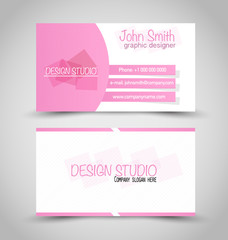 Business card set template. Pink and white color.