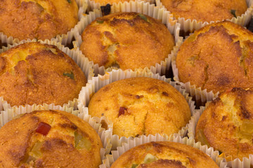 fresh muffins with candied fruit