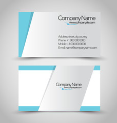Business card set template. Blue and silver color.