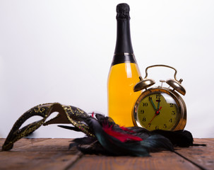 Old clock and champagne