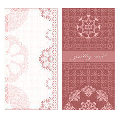 Greeting card in European style, pink template