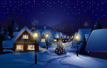 Cottage, village Christmas Night, Snow, Winter