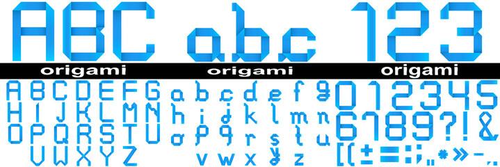 Conceptual set of blue paper origami font