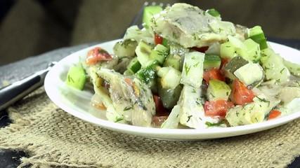 Fresh made Herring Salad as not loopable 4K UHD footage