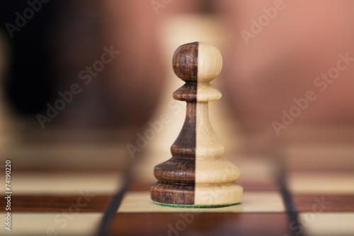 Leinwanddruck Bild Merged Chess Pawns
