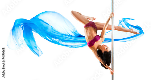 Young sexy pole dance woman - 74190465