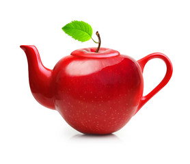 Red teapot from apple fruit