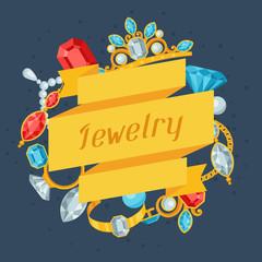 Set of beautiful jewelry and precious stones.