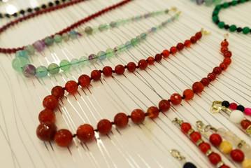 Beautiful beads and bracelets made of a  stone onyx