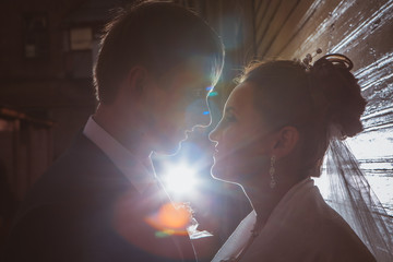 Silhouettes of a beautiful wedding couple