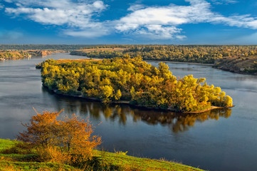 Dniper river in the early autumn in a fair weather