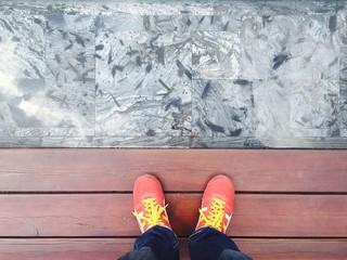 my feet on wood floor