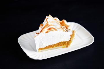 Pumpkin pie with meringue, american classic, thanksgiving