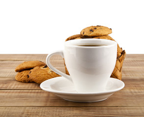 cup of coffee with a cookie