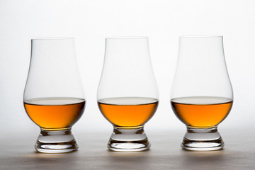 Whiskey in Three Crystal Tasting Glasses