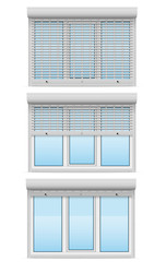 plastic window behind metal perforated rolling shutters vector i