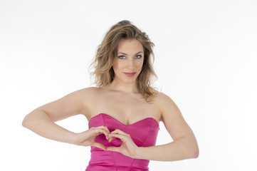 Pretty Girl making heart shape with her hands