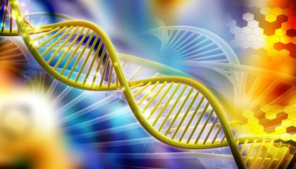 Digital illustration of DNA in color background