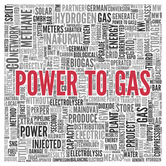 POWER TO GAS Concept Word Tag Cloud Design