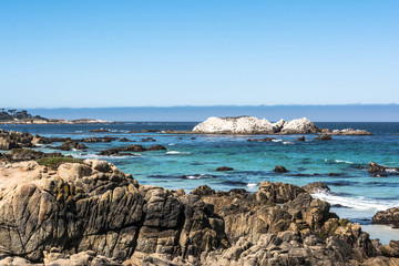 Ocean and rocks along the coast of Monterey