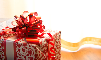 Colorful gift box close-up