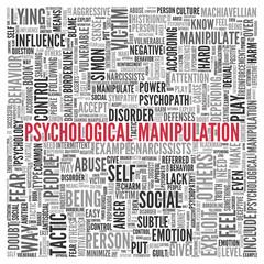 PSYCHOLOGICAL MANIPULATION Word Tag Cloud Design