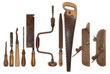 composition of old tools for wood - 74193287