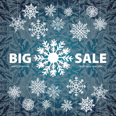 Winter sale background banner and snow. Vector
